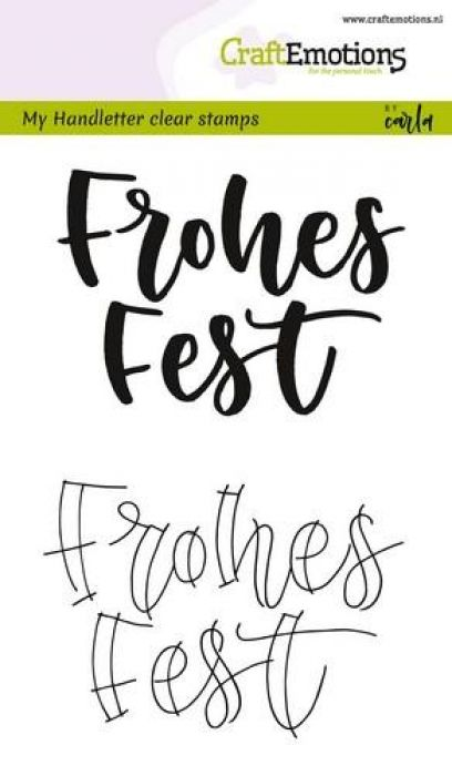 CraftEmotions clearstamps A6 - handletter - Frohes Fest (DE