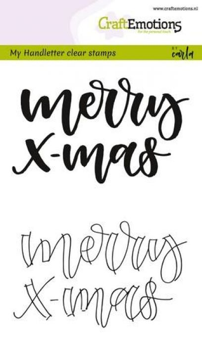CraftEmotions clearstamps A6 - handletter - Merry xmas (Eng) CK