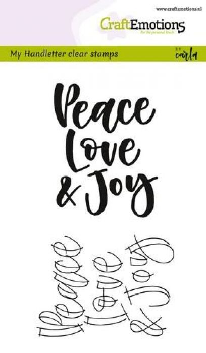 CraftEmotions clearstamps A6 - handletter - Peace Love...(Eng) CK