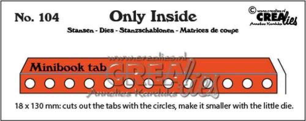 Crealies Only Inside no. 104 mini book holes with tab CLOI104 18x130mm