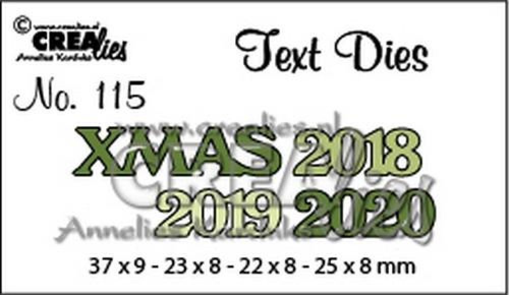 Crealies Text Dies XMAS 2018 2019 2020 CLTD 37 X 9 - 22 x 8 - 25 x 8 mm