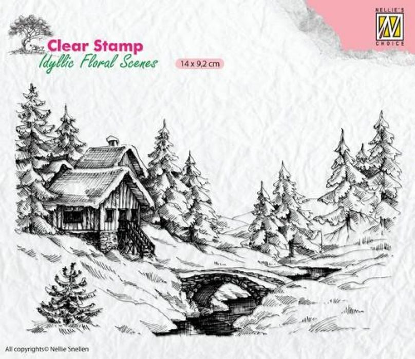 Nellie`s Choice Clearstamp - idyllic Flora winter scene-1 IFS009 140x92mm