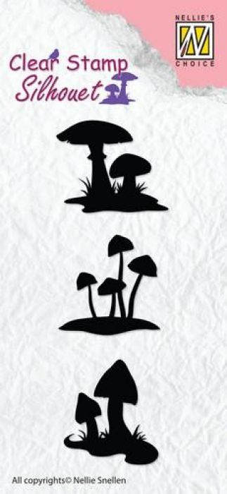 Nellie`s Choice Silhouette Clear Stamps paddenstoelen SIL034 65x64mm