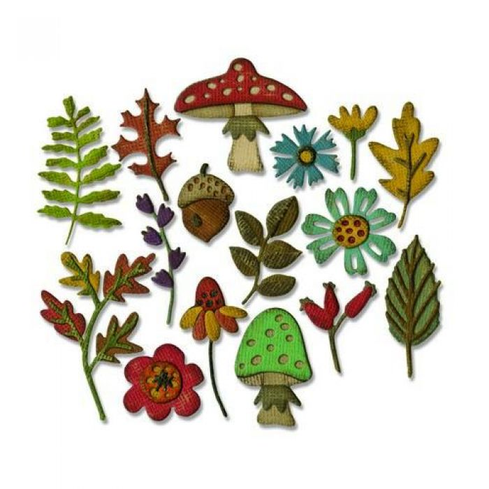Sizzix Thinlits Die set - Funky Foliage 20PK 663087 Tim Holtz