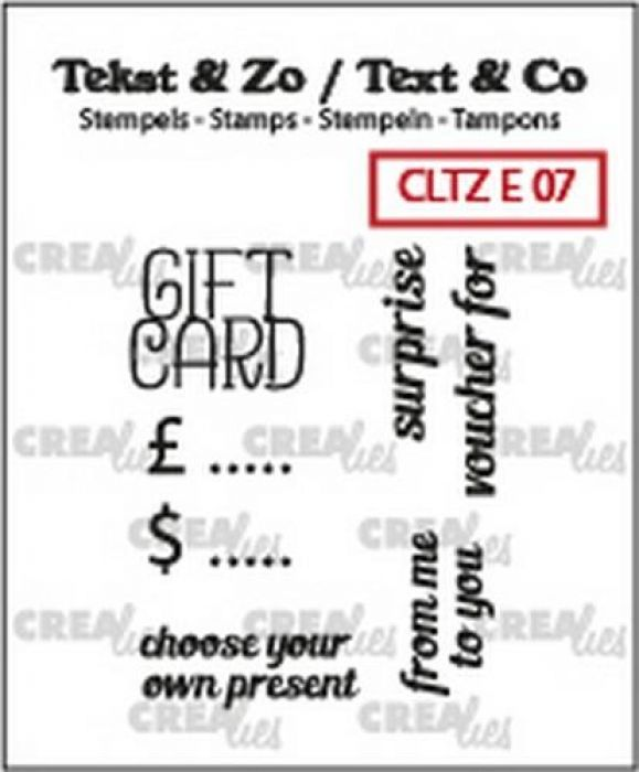 Crealies Clearstamp Tekst & Zo text gift card (ENG) CLTZE07 22mm