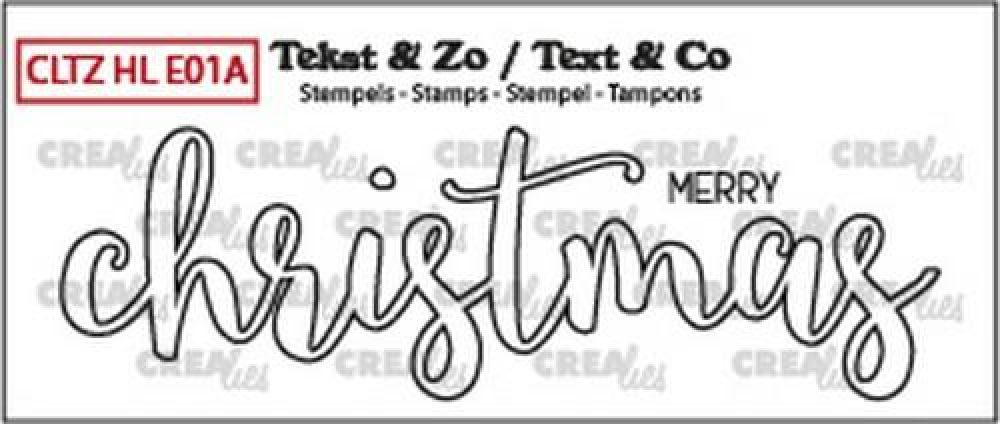 Crealies Clearstamp Text & Co Handlet. merry christmas outline CLTZHLE01A 27x88mm
