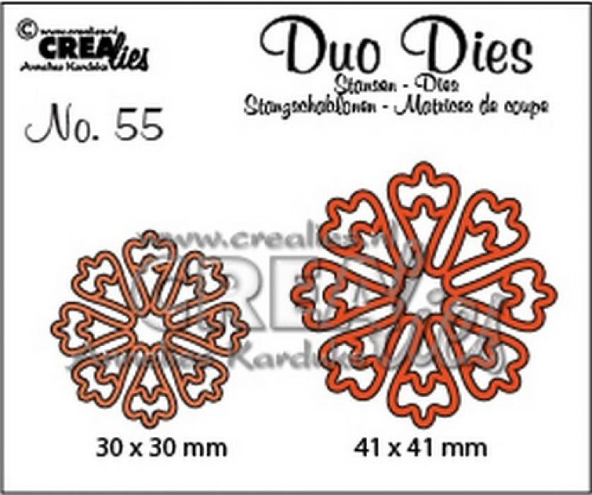 Crealies Duo Dies no. 55 Bloemen 24 CLDD55 30x30 mm - 41x41 mm