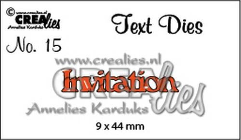Crealies tekststans (Eng) nr. 15 Invitation CLTD15 9x44mm