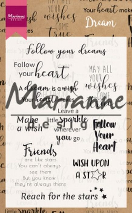 Marianne D Clear Stamps Dream sentiments UK CS1018 10 pcs; 95x140mm