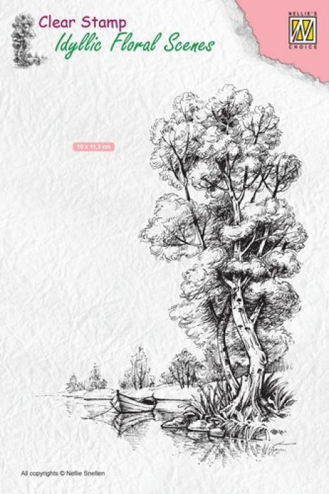 Nellie`s Choice Clearstamp - Idyllic Floral Scenes Boom met boot IFS014 100x140mm