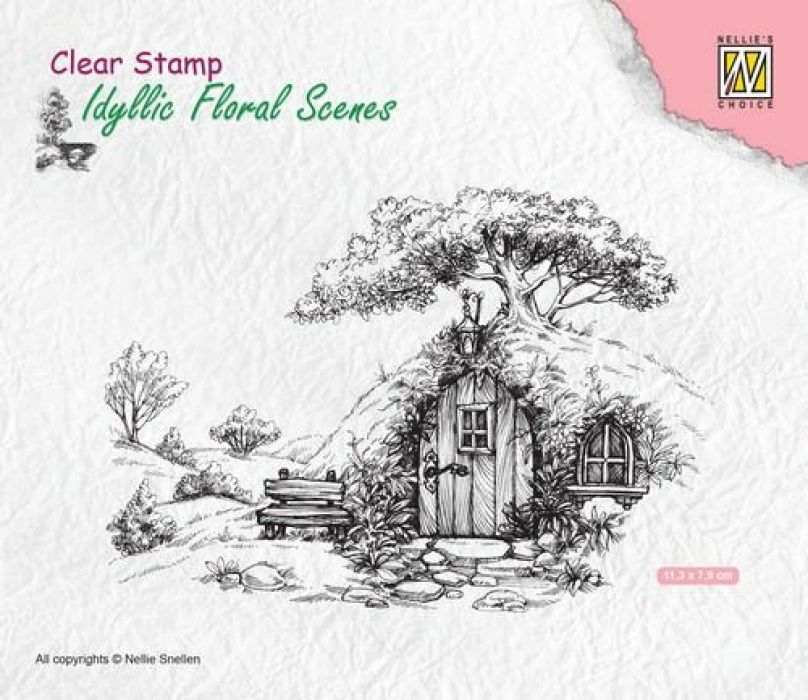 Nellie`s Choice Clearstamp - Scene oud huis IFS012 113x70mm