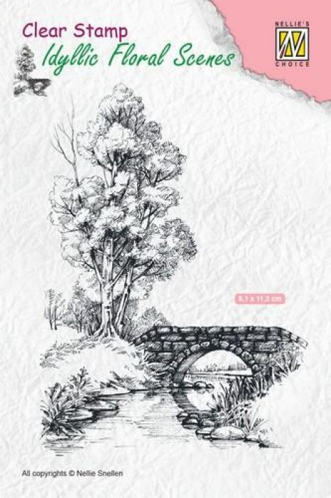 Nellie`s Choice Clearstamp - Scene water met brug IFS011 81x112mm (