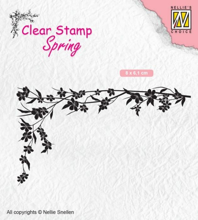 Nellies Choice Clearstempel - lente Floral corner-1 SPCS007 80x61mm