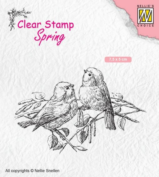 Nellies Choice Clearstempel - lente, twee vogels SPCS011 75x50mm