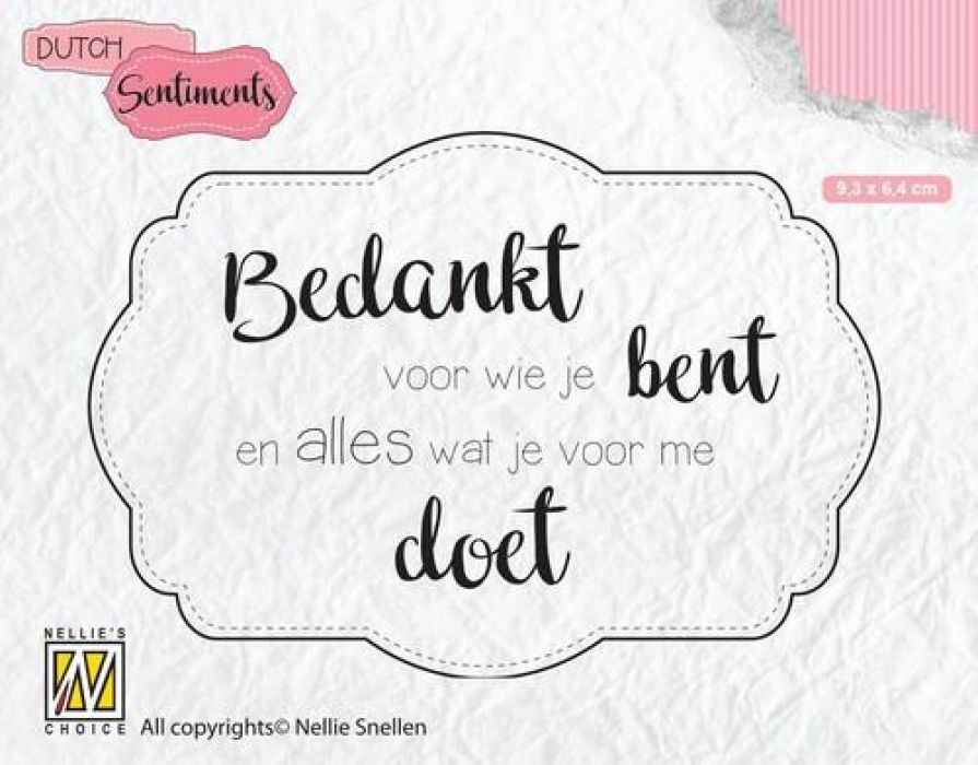 Nellies Choice Clearstempel Sentiments - Bedankt voor wie (NL) SENC010 93x64mm