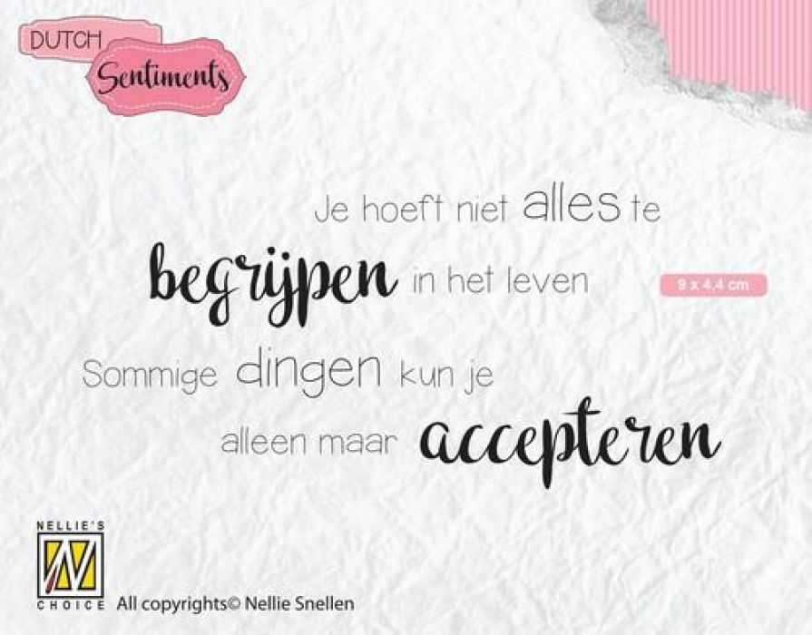 Nellies Choice Clearstempel Sentiments - Je hoeft niet alles (NL) SENC012 90x44mm
