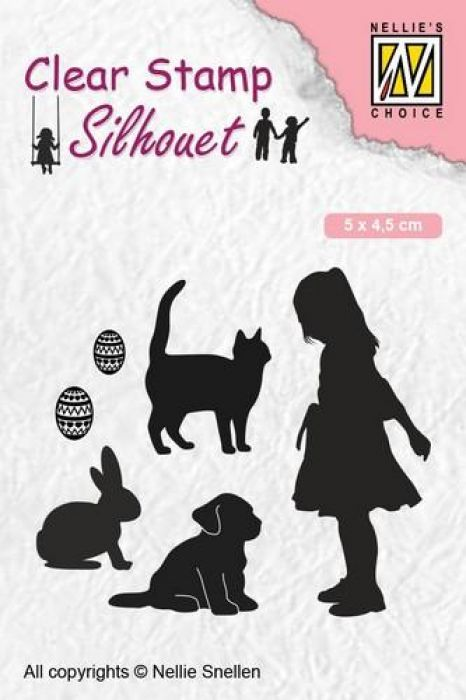 Nellies Choice Clearstempel - Silhouette kind - dierenvriend SIL050 50x45 mm