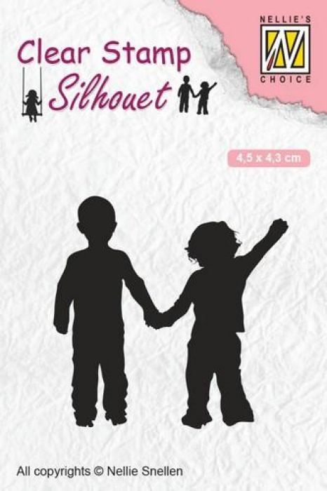 Nellies Choice Clearstempel - Silhouette kind - dikke vrienden SIL051 45x43 mm