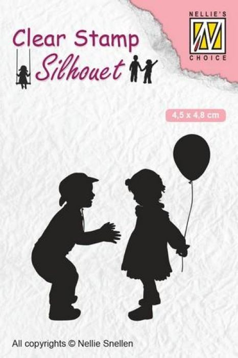 Nellies Choice Clearstempel - Silhouette kinderen met ballon SIL046 45x48 mm