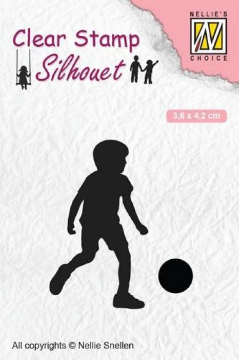 Nellies Choice Clearstempel - Silhouette voetballend kind SIL049 36x42 mm
