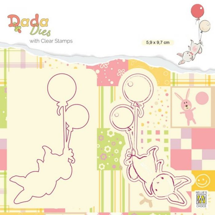 Nellies Choice DADA Die with clear stamp ballonvlucht DDCS005 59x97mm