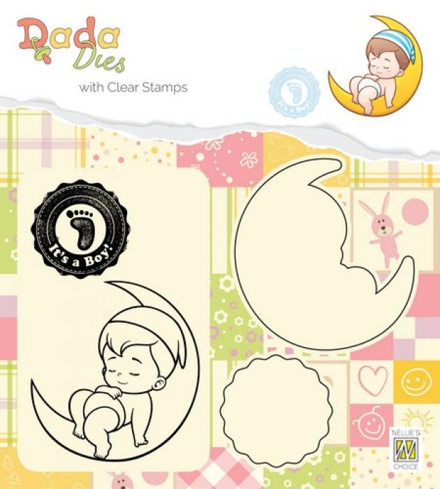 Nellies Choice DADA Die with clear stamp Its a boy - op de maan DDCS011 52x55mm