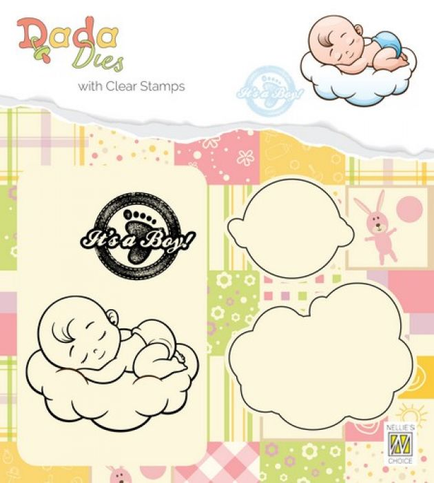 Nellies Choice DADA Die with clear stamp Its a boy - sweet dreams DDCS010 54x42mm