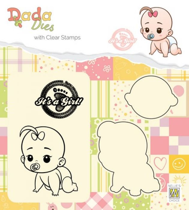 Nellies Choice DADA Die with clear stamp Its a girl - kruipen DDCS012 42x50mm