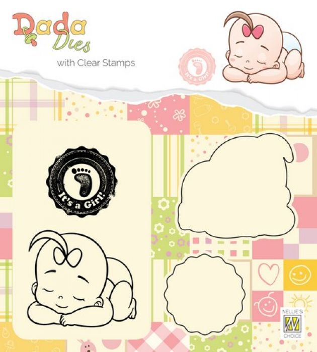 Nellies Choice DADA Die with clear stamp Its a girl: slapen DDCS013 47x41mm