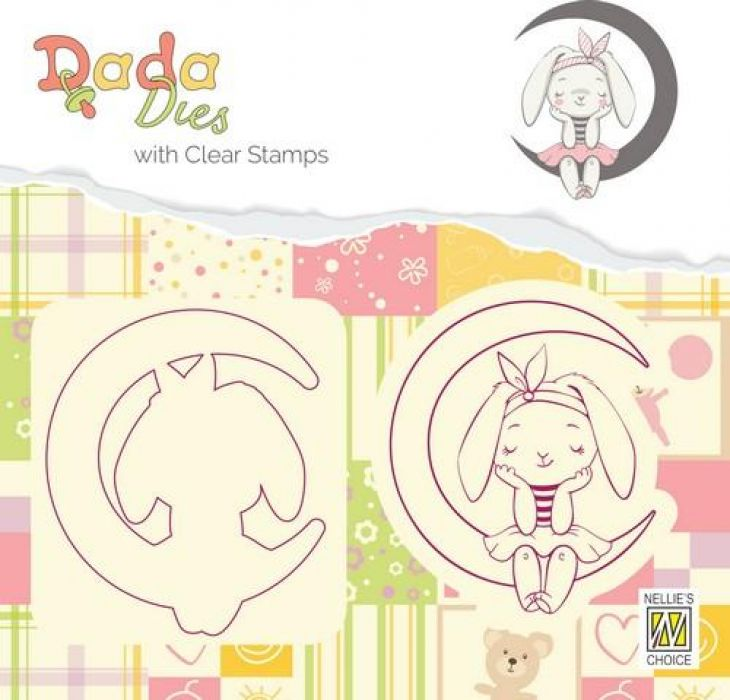 Nellies Choice DADA Die with clear stamp konijn op maan DDCS001 46x54 mm