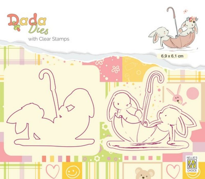 Nellies Choice DADA Die with clear stamp parapluboot DDCS006 69x61mm