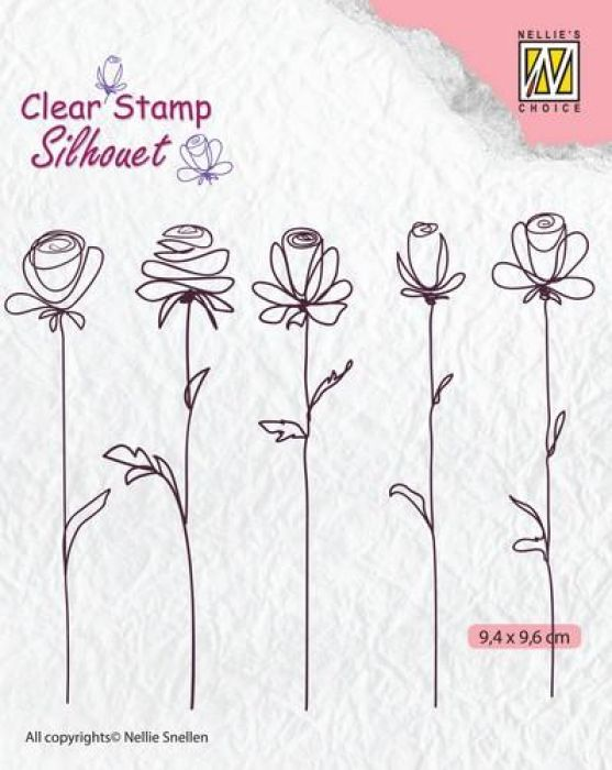 Nellie`s Choice Silhouette Clear Stamps 5 bloemen SIL042 94x96mm