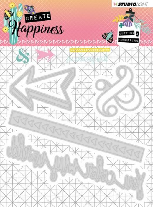 Studio Light Embossing Die 104x101 mm Create Happiness nr.156