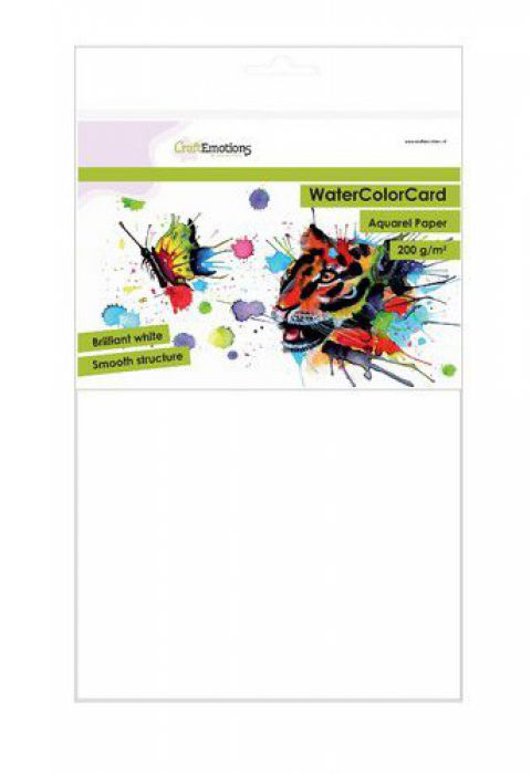 CraftEmotions WaterColorCard - briljant wit 10 vl A4 - 200 gr