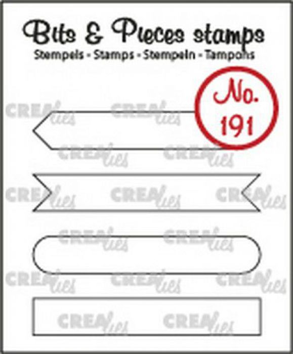 Crealies Clearstamp Bits & Pieces Tekst Strips set A omlijning CLBP191 4x7x43mm