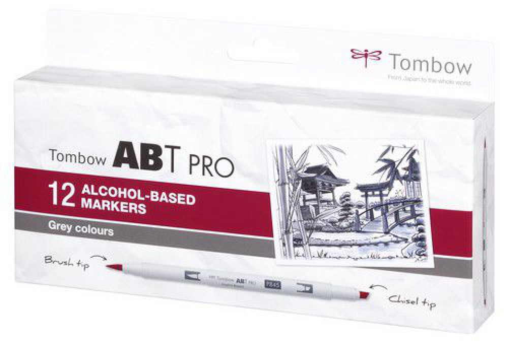 Tombow ABT PRO Alcohol - dubbele brushpen 12 st. set Gray 19-ABTP-12P-3