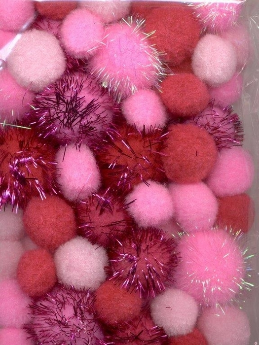 Mix Pompom Set Roze Incl Glitter 50 St