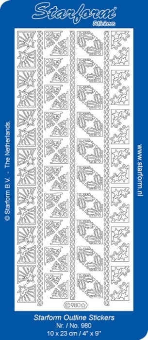 1 Pk (10 Vl) Stickers Corners 19: Christmas zilver