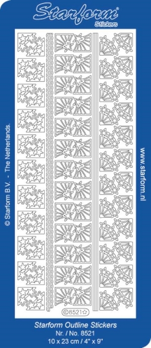 1 Pk (10 Vl) Stickers Borders | Corners 18: Christmas zilver