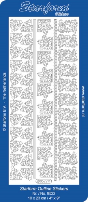 1 Pk (10 Vl) Stickers Borders | Corners 19: Christmas zilver