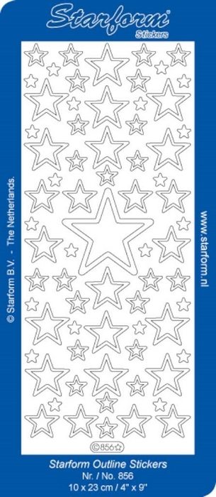 1 Pk (10 Vl) Stickers Christmas Stars 3: Large zilver