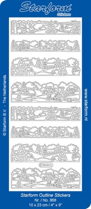 1 Pk (10 Vl) Stickers Christmas Landscape 3: Small zilver