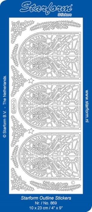 1 Pk (10 Vl) Stickers Christmas Stained-glass Window 2 zilver