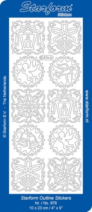 1 Pk (10 Vl) Stickers Christmas Decoration 4 zilver