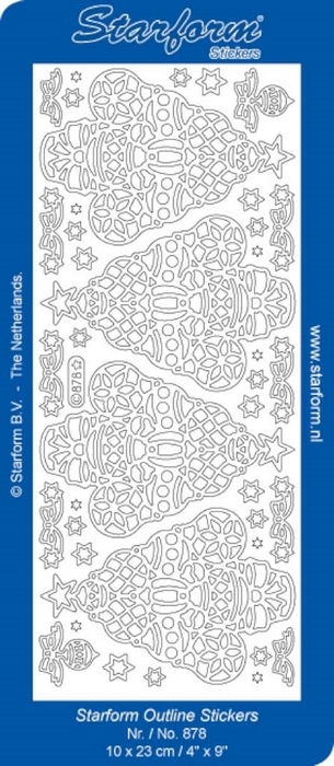 1 Pk (10 Vl) Stickers Christmas Tree 2 zilver