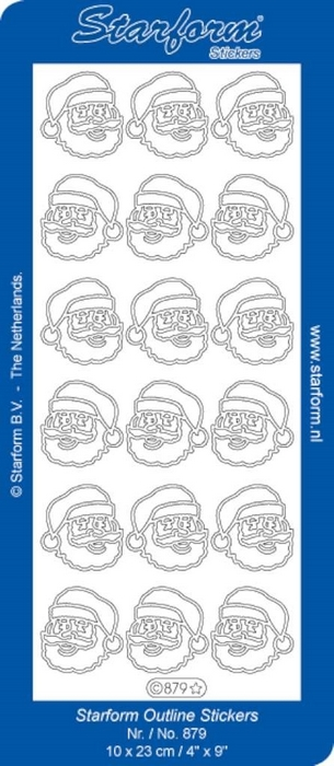 1 Pk (10 Vl) Stickers Christmas Santa Claus Heads zilver