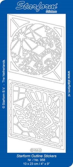 1 Pk (10 Vl) Stickers Christmas Village And Angle Checks zilver