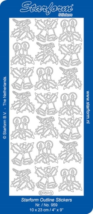 1 Pk (10 Vl) Stickers Christmas Decorations 7 zilver