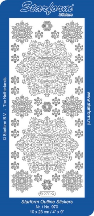 1 Pk (10 Vl) Stickers Christmas Snowflake Big zilver