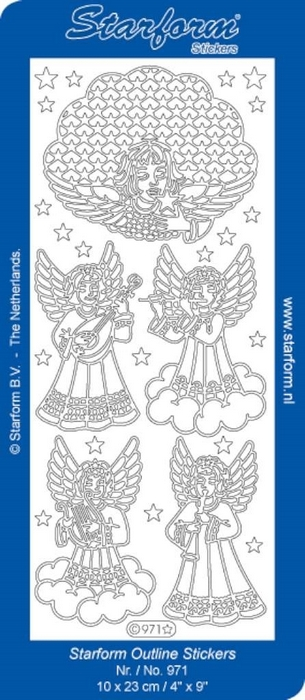 1 Pk (10 Vl) Stickers Christmas Angels goud
